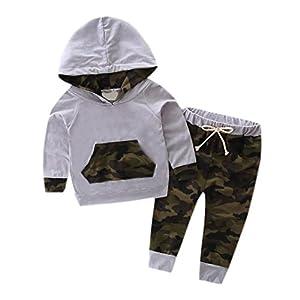 FAMILIZO 1 Conjunto Ropa Trajes de Niño Traje de Chándal con Capucha Top + Pantalones Camuflaje 7