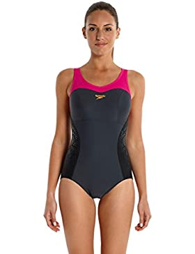 Speedo Fit Racer Back - Traje de Baño para Mujer, Color Gris (Oxid Grey/Black/Magenta), Talla 42 (Talla Fabricante...