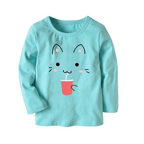 JERFER Karikatur KatzeT-Shirt Tops Neugeborene Babykleidung Kleinkind Bluse Kinderbekleidung Babykleider Mädchen Junge Rundhals Langarmshirts 2-7Jahre (Hellblau, 4T)
