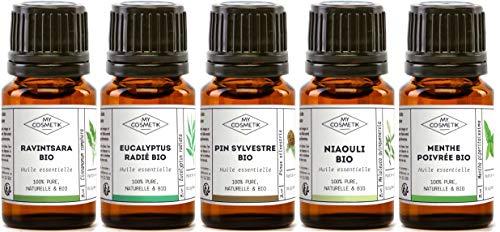 Synergie Reines Ätherisches Öl (Pack 5 ätherische Öle - Winter-Auswahl - Ravintsara strahlige Eukalyptus, Pfefferminze, Niaouli, Waldkiefer - MyCosmetik - 5 x 5 ml)
