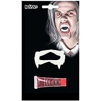Set di denti da vampiro in plastica e tubetto di sangue finto in blister 11  ml d70d5585e3d2