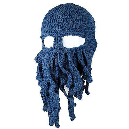 Interessanter Tentakel Octopus Hut Kopfbedeckung-Kopf-Verpackungs-Ausschnitt Balaclava Knit Wind Maske Cap Wollmütze Für Motorrad Skeleton for Fun (Dunkelblau)
