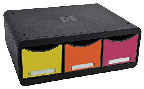 Exacompta 318798D Ablagebox Toolbox Maxi (mit 3 Schubladen, ideal als Desktopsorter) 1 Stück, harlekin