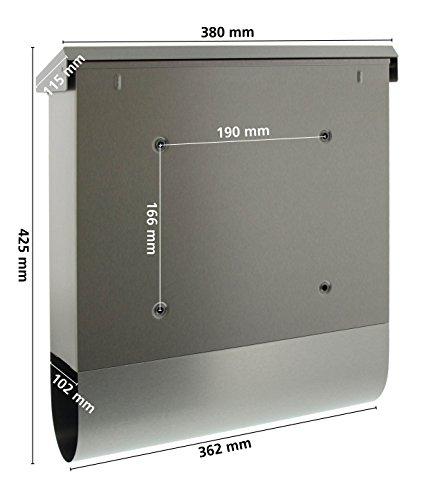 BURG-WÄCHTER, Briefkasten mit Zeitungsbox A4 Einwurf-Format, Rostfreier Stahl, Seculine 2500 Ni - 5
