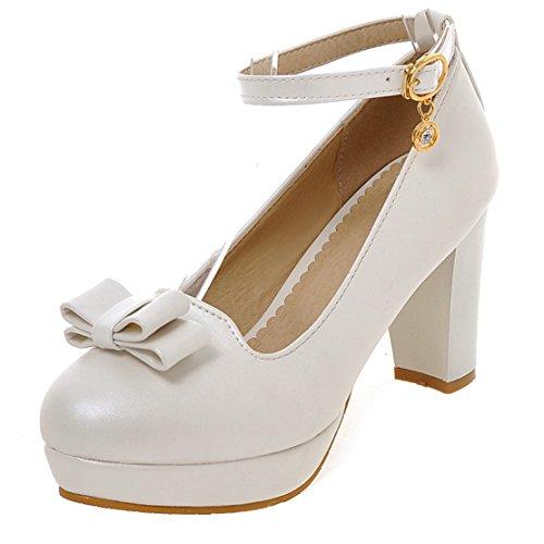 AIYOUMEI Knöchelriemchen Pumps mit Schleife Blockabsatz High Heels Damen Süße Schuhe Weiß