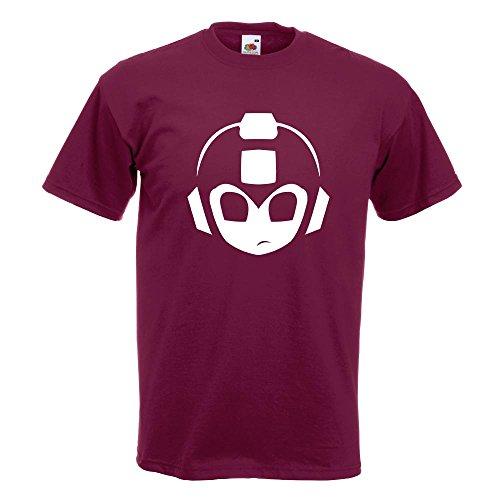 KIWISTAR - Mega Man MegaMan Kopf T-Shirt in 15 verschiedenen Farben - Herren Funshirt bedruckt Design Sprüche Spruch Motive Oberteil Baumwolle Print Größe S M L XL XXL Burgund