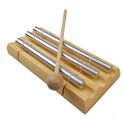 Gosear 3-Tone Energy Carillon Enfants Musical Jouet Percussion Instrument avec maillet pour la prière Yoga Energies orientales Rappel de Salle de Classe Bell
