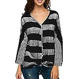 MOIKA Blusen Damen, Tshirt V-Ausschnitt Frauen Casual Floral Bedruckt Lange Ärmel Seitentop Bluse mit Kordelzug (EU48/3XL, A-1)