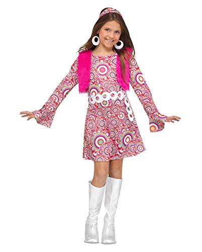 Horror-Shop Pinkes 60er Jahre Hippie Kostüm-Kleid für Mädchen S (Mädchen Hippie-kostüme Für)