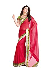 Infigo Red Chiffon Embroidered Saree