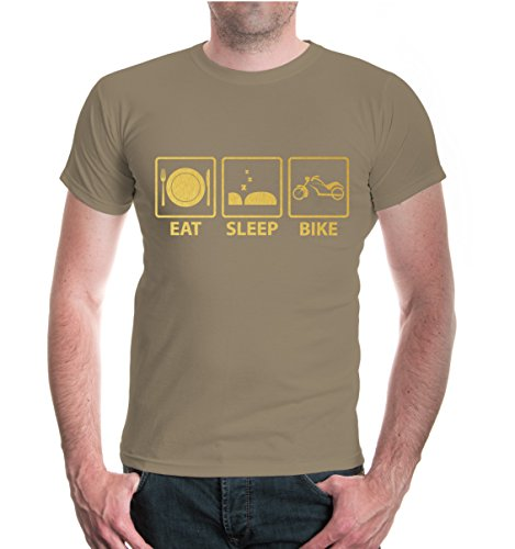 T-Shirt Eat Sleep Bike V2-XXL-Khaki-Gold
