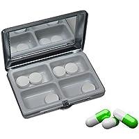 Pillendose Pillenbox Medikamentenbox mit Spiegel und 4-fach Unterteilung Metall preisvergleich bei billige-tabletten.eu