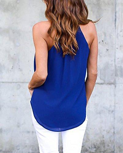 Donne Casuale V-Collo Senza Maniche Sciolto Bluse Camicie Canotte Top T-Shirt Blu