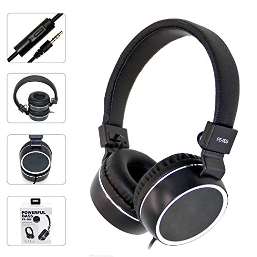 Mzq-yq Headset-Draht-Kopfhörer, Stereo-Faltendes verdrahtetes PU-Leder-Ohrenschützer, Universal-Mikrofon mit Mikrofon (Farbe : Schwarz)
