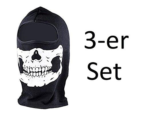 3er SET - Sturmhaube Sturmmaske Motorrad Fahrrad Paintball Gesichtsmaske - 3-Loch oder 1-Loch Variante - Acryl - Schwarz Weiss (3-er Set 1 Loch Maske)