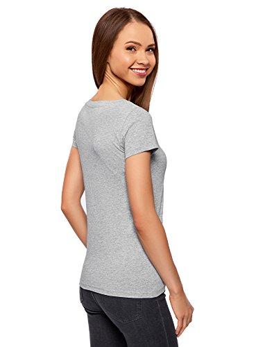 oodji Ultra Damen Tagless T-Shirt Basic Aus Baumwolle Grau (2000M)