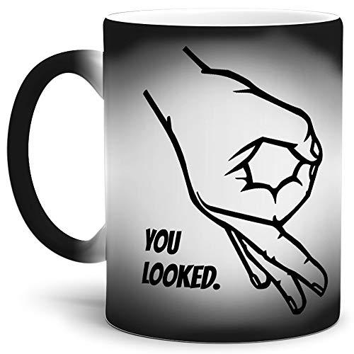 Tassendruck Farbwechsel-Tasse mit Spruch You Looked/Thermo-Effekt/Wow / Zauber-Tasse/Circle-Game/Reingeguckt / Kaffeetasse/Mug / Cup/Schwarz - Matt Wow Mug
