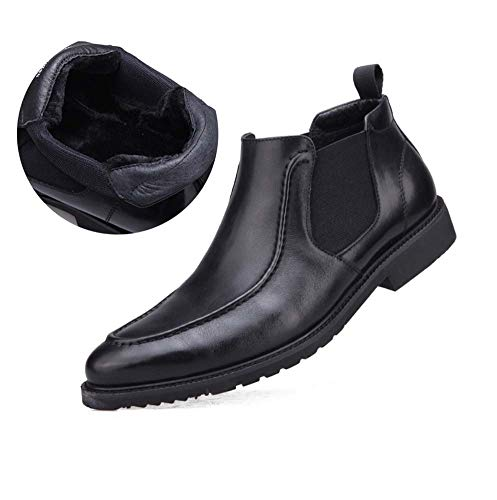 FGFKIJ Men Leather Boots Winter Warm Cowboy Knight Boots Ankle Boots Pointed Toe Black Leather Shoes Smart Evening Party Chelsea Boots,BlackFurLined,44EU - Black Square Toe Cowboy-stiefel