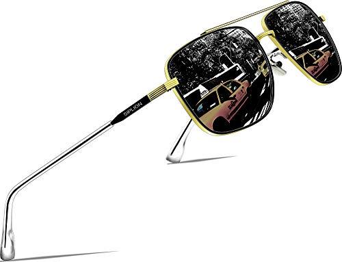 SIPLION Herren Polarisiert Sonnenbrille Pilotenbrille Fahrerbrille Verspiegelt UV400 6055-BLACK-Gold