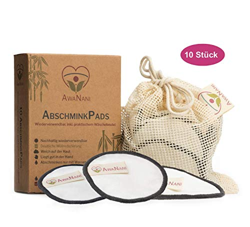 AwaNani Abschminkpads waschbar - WASSER REICHT zum Abschminken - Premium Mikrofaser Abschminktücher - Super weich & schonend, ideal zum Augen Abschminken - mit Erklär-Video