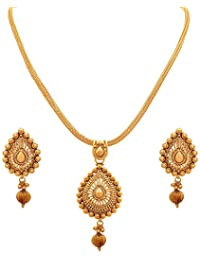 BFC-Buy For Change Traditional And Ethnic One Gram Gold Plated Pendant Set With Gold Chain
