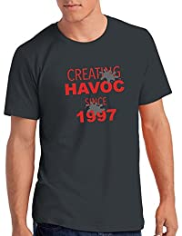 "Mens Creating Havoc Since 1997"" 21st Birthday T Shirt Gift"