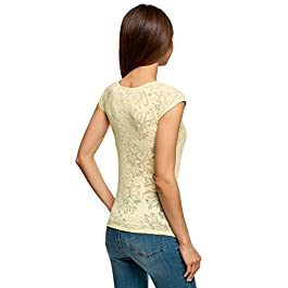oodji Collection Donna T-Shirt in Tessuto Strutturato con Maniche Raglan