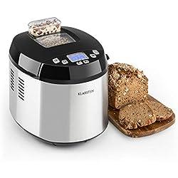 KLARSTEIN Brotilde Panificadora - Máquina de pan automática , Pantalla LCD , Ventana para ver el proceso , Dispensador de ingredientes , 650 W , Apto para alérgicos , Accesorios , Acero , Plateado