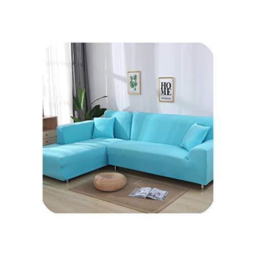 Stretch L-förmigen Sofa Abdeckung für Wohnzimmer Chaiselongue-Sofa-Abdeckung Sectional Slipcover, himmelblau, 2-Sitzer und 2-Sitzer -