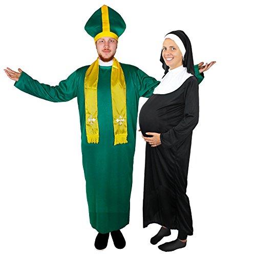 IRISCHER PRIESTER UND SCHWANGERE NONNE = PAARE VERKLEIDUNG = PERFEKT FÜR JEDE ART VON VERKLEIDUNGS PARTY = KOSTÜM ZUR VERKLEIDUNG ALS BISCHOF-KARDINAL ODER IRISCHER PRIESTER MIT EINENER KIRCHEN ARTIGEN KOPFBEDECKUNG - Für Frauen Lustige Halloween-kostüme Schwangere