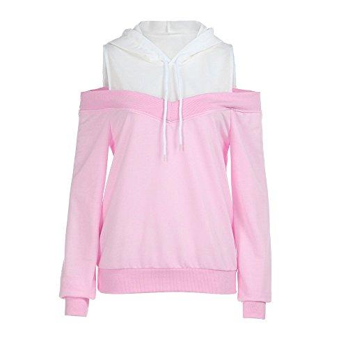 POPLY Frauen Hoodie Kapuzenpullover, Damen Schulterfrei Langarm Einfarbig Sweatshirt Herbst Einfach Drawstring Kapuzen Pullover Tops (Rosa,L)