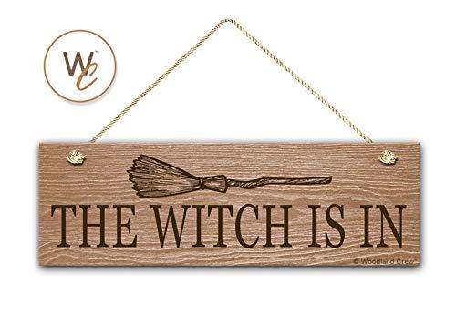 in Sign, 14 x 43 cm, Holzschild, rustikales Halloween-Dekor, Türschild, Hexenbesen, Hauseinweihungsgeschenk, ()