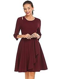 4d05f1bf3496 Damen Winter Herbst Heine Cocktailkleid Rundhals 3 4-Ärmel Kleid Vintage  Abendkleid Knielang mit ausgestelltes…