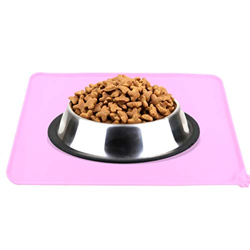 Stuoia dell'alimento per animali domestici, stuoia d'alimentazione impermeabile del tovagliolo del cibo gatto del cibo tovagliolo del cibo antiaderente del cibo Tovaglietta dell'acqua FDA (Rosa)