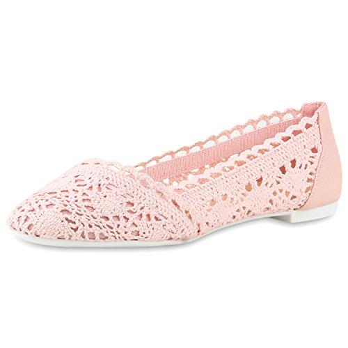 Damen Slipper Slip-ons Spitze Profilsohle Flats Ballerinas Rosa Rosa