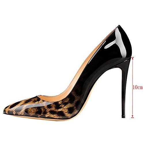 EKS - Sandali con Zeppa donna Schwarz&Leopard-10cm