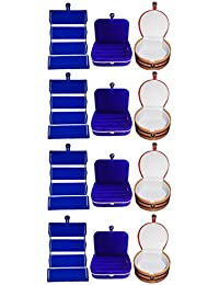 Phoenixfaso Combo 4 Pc Blue Earring Folder 4 Blue Ear Ring Box And 4 Pc Bangle Box Jewelry Vanity Case