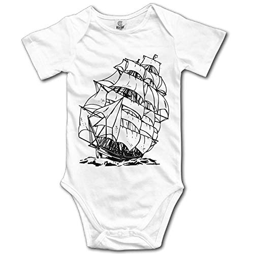 TKMSH Unisex Baby's Climbing Clothes Set A Pirate Boat Bodysuits Romper Short Sleeved Light Onesies for 0-24 Months - Pirate Low Cut