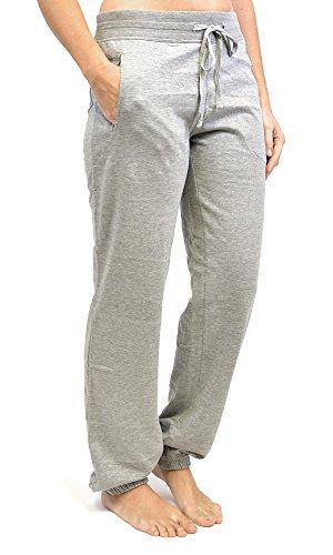 Tom Franks Pantalon de Jogging Yoga Gym Femme (Manchesttes a Nervures) Gris