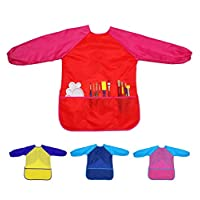 Xinyanmy 4 Pack Kids Art Smocks with 3 Pockets for Craft,Cooking and Lab Activity,Waterproof Long Sleeve Children Painting Aprons for Age 3-8 Years