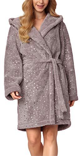 L&L Bata Capucha Ropa Casa Mujer BLS-8127 Estrellas/Destello/Gris