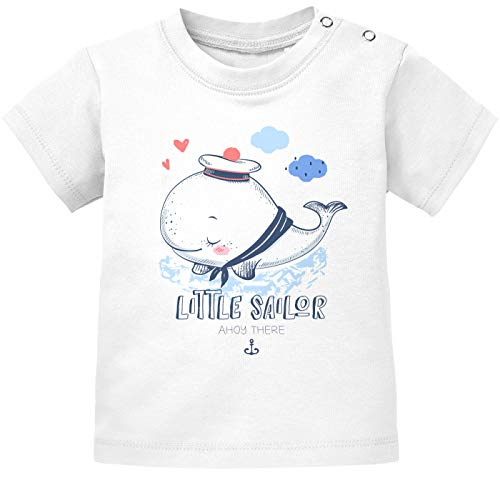 MoonWorks® Baby Kurzarm T-Shirt Little Sailor Ahoy There Babyshirt Wal Jungen Mädchen Shirt Matrose weiß 68/74 (4-9 Monate)