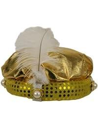 Turban de sultan, doré, orné d'une plume