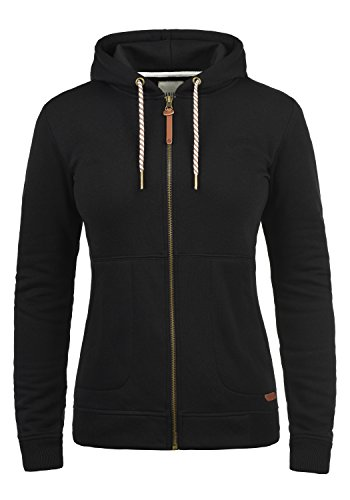 Kapuze Hoody Jacke (DESIRES Vanda Damen Sweatjacke Kapuzen-Jacke Zip-Hood aus hochwertiger Baumwollmischung Meliert, Größe:L, Farbe:Black (9000))