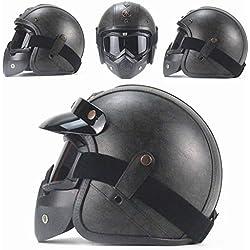 AA100 Casco de Harley, Personalidad Hecha a Mano Retro Gafas de Boca Filtro máscara Desmontable (S, L, MXL, XXL),Black,M