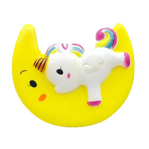 Mamum 11 cm süßes Pony Spielzeug Mond schlafen, großer Simulation Mond Einhorn duftend matschig Toyboy Charme langsam ansteigende