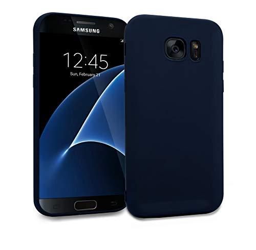MyGadget Silikon Hülle TPU Case für Samsung Galaxy S7 Edge - Soft Back Cover (1,2 mm Slim) Schutzhülle Dünn & Flexibel Handyhülle Schale - Matt Blau (Blau Back Case)