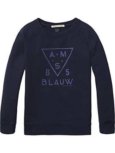 Scotch & Soda Shrunk Jungen Sweatshirt Crewneck Garment Dye Sweat with Raglan Sleeves. , Blau (Night 01), 140 (Herstellergröße: 10) (Crewneck Sweatshirt Raglan)