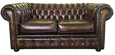 Chesterfield Antique Brown Genuine Leather 2 Seater Sofa from Chesterfield