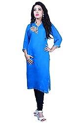 Maasha Women's Georgette Kurti (Maashakurti1007_Blue_Medium)